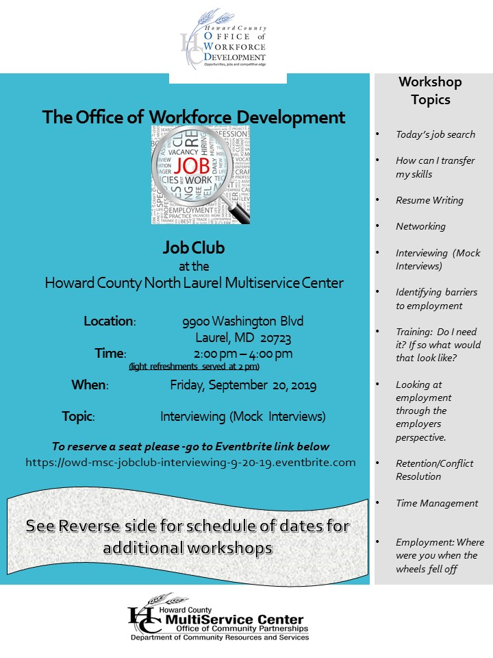 The Office of Workforce Development's Job Club at the North Laurel