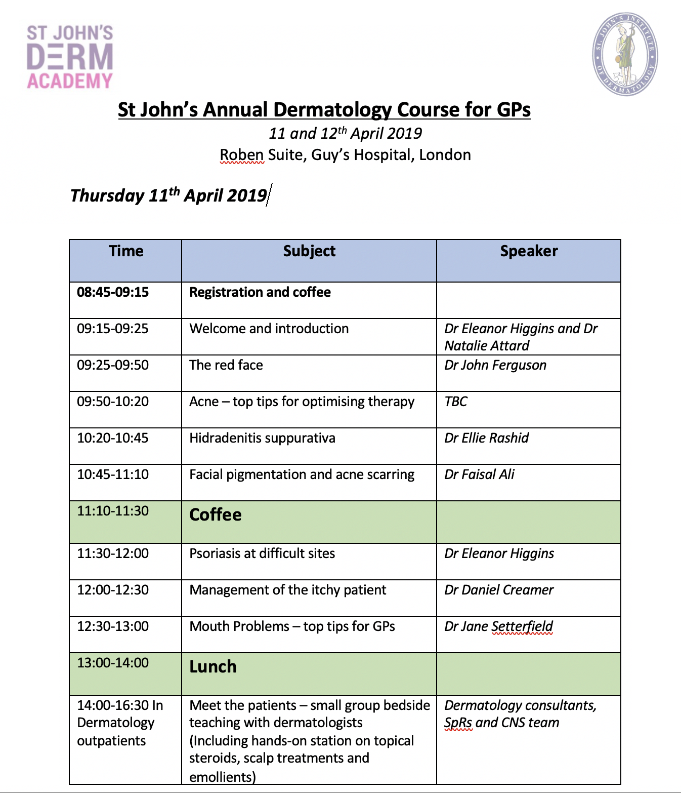 DermAcademy GP Course Day 1 Programme