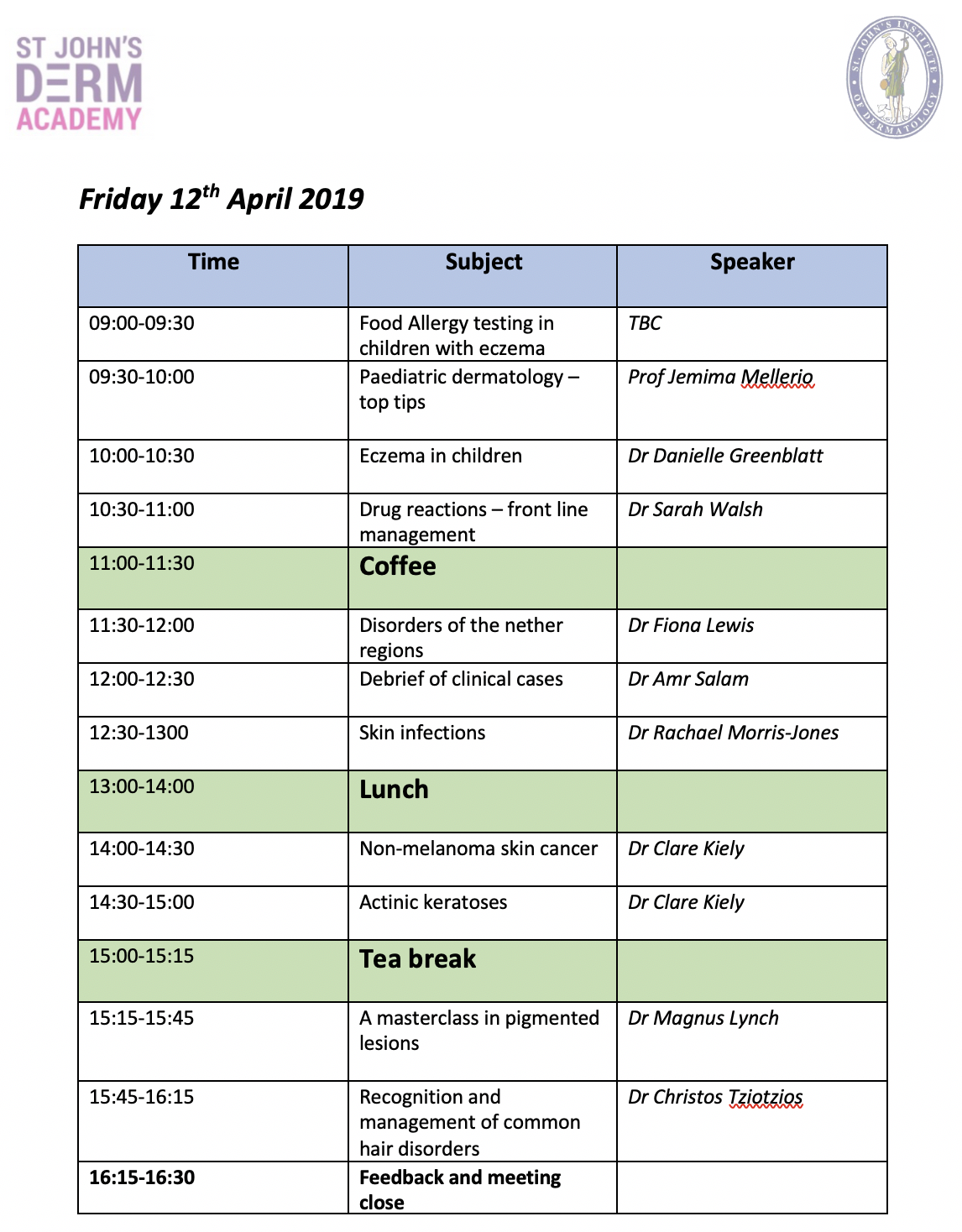 DermAcademy GP Course Day 2 Programme