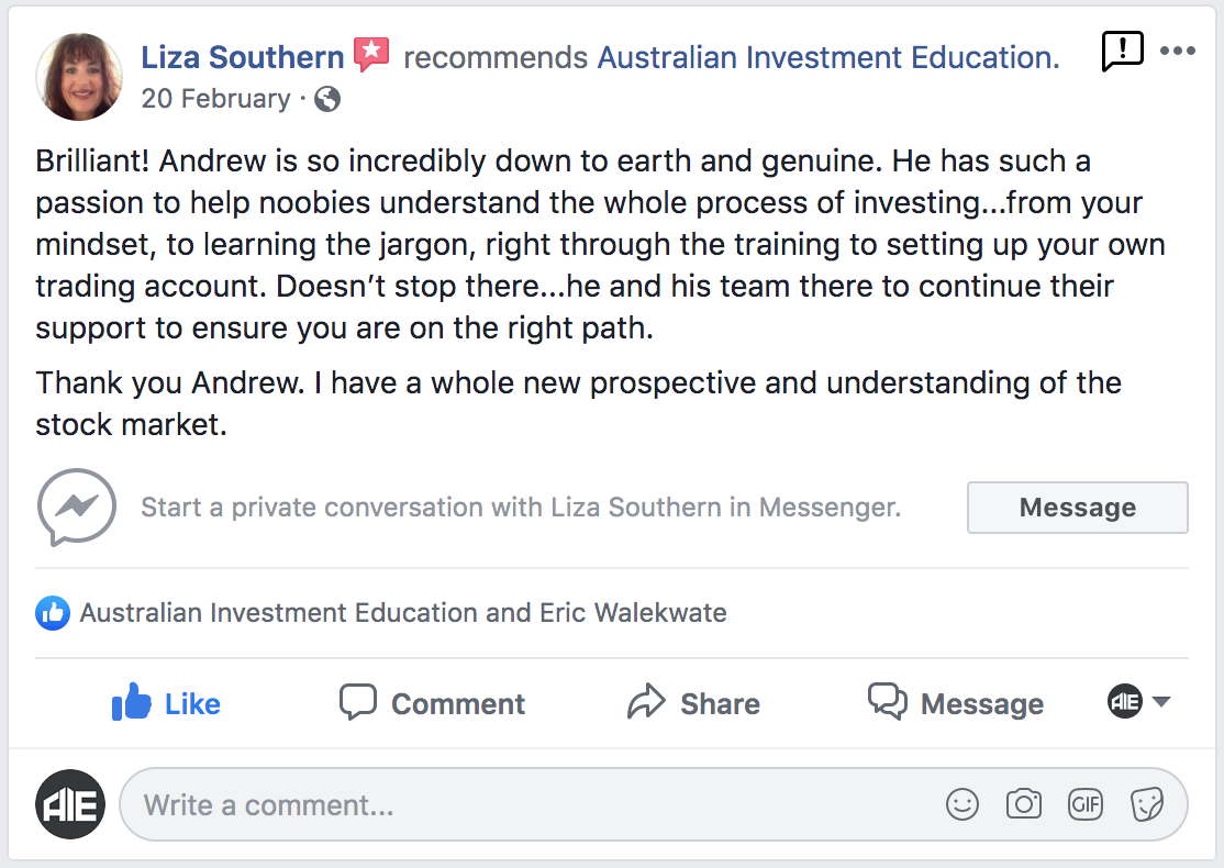 Australian Investment Education Course Review Newcastle