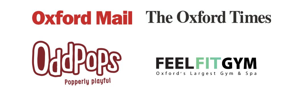 Logos of sponsors Oxford Mail, Oxford Times, Odd Pops and Feel Fit