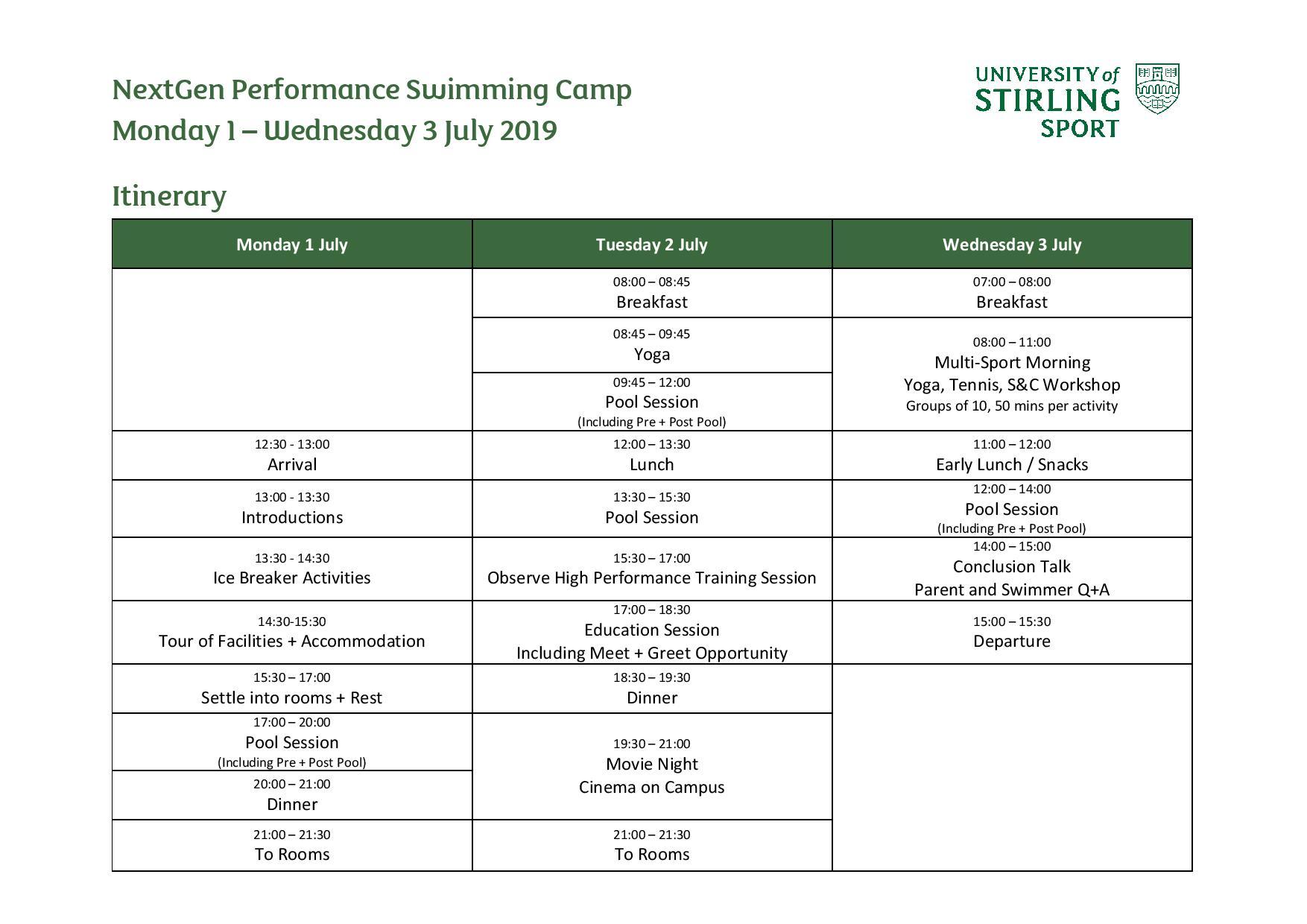 NextGen Performance Swimming Camp 2019 Itinerary