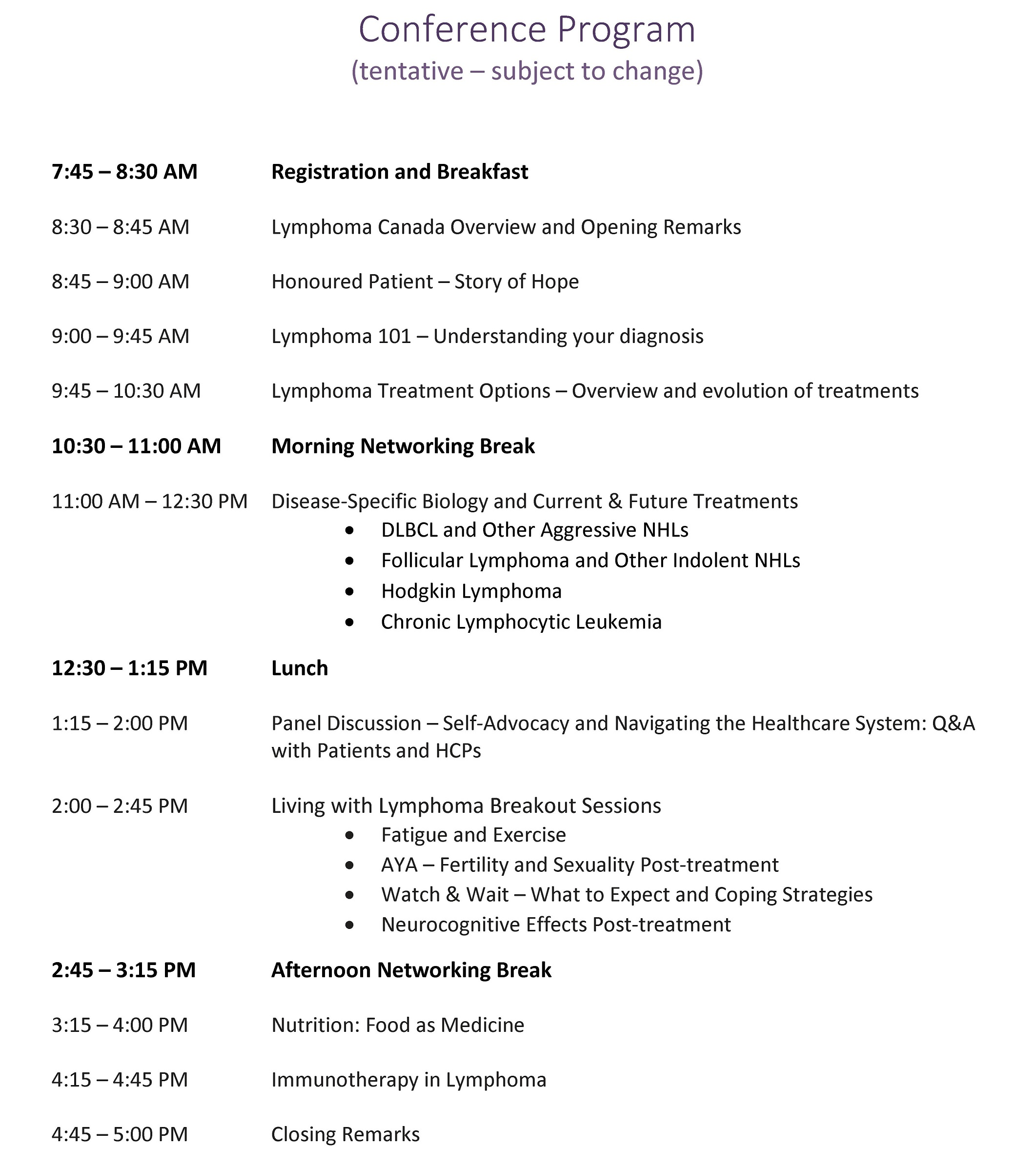 2019 National Patient Conference Agenda