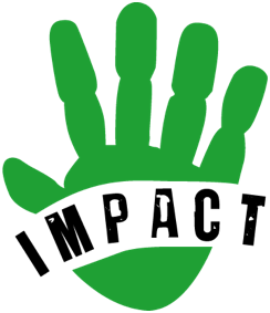 Green Hand with Black Letters in Palm IMPACT