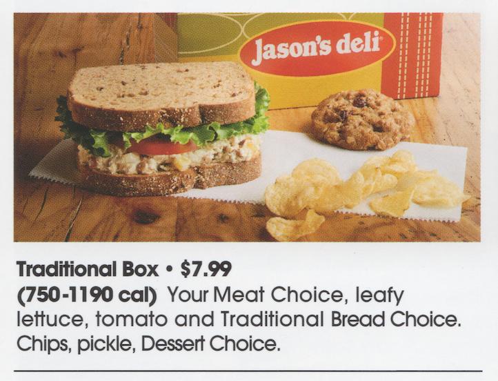 Jason's Traditional Box Lunch: ham or turkey, lettuce, tomato, swiss on sourdough