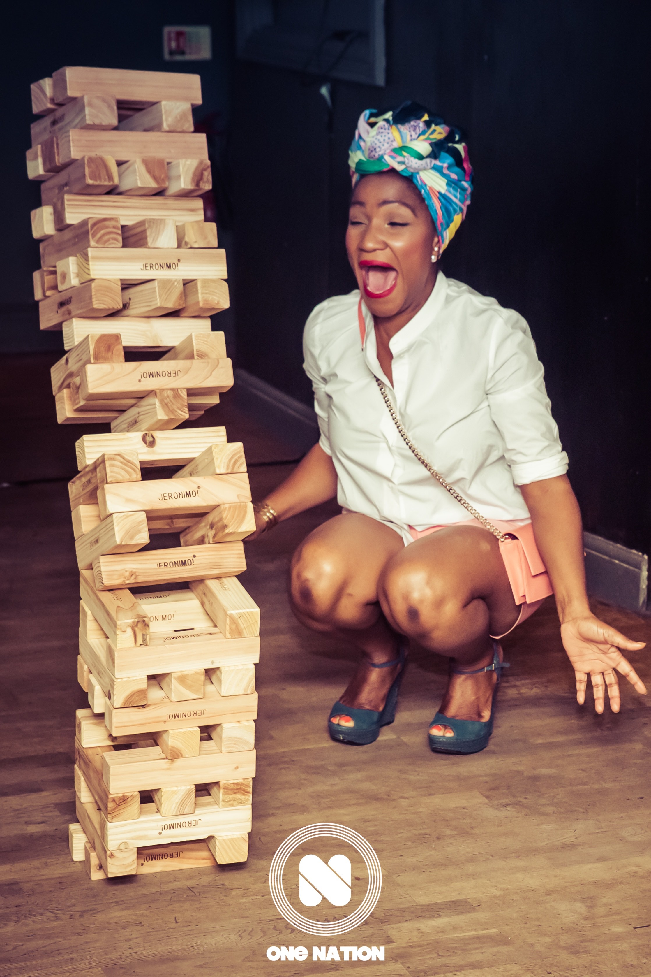 Giant Jenga falling at One Nation.  Remember the rule; if you make it fall, you help build it back up.
