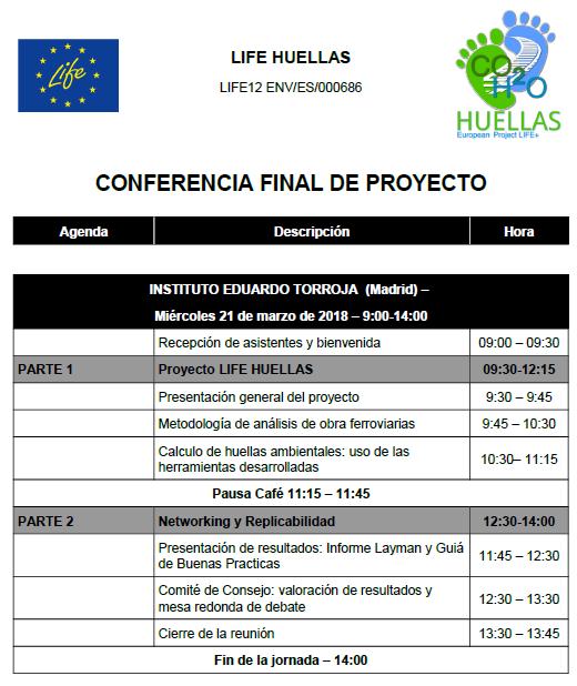 LIFE+ HUELLAS - Agenda de la conferencia final