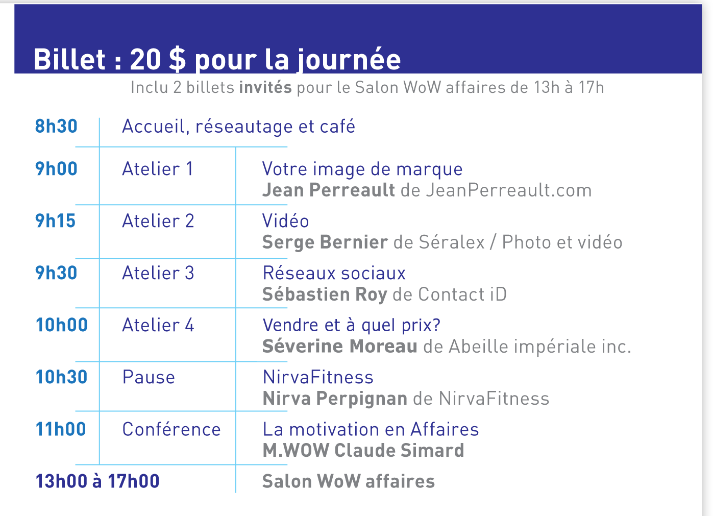 Programme de la journée WOW affaires