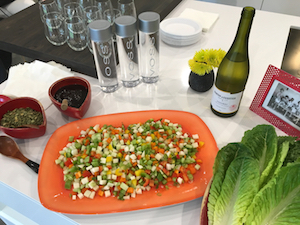 Rainbow Lettuce Appetizer with Vouvray wine