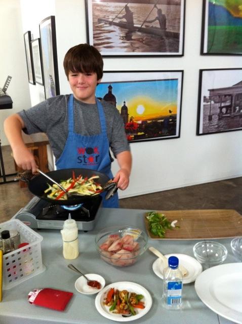 Zeke show off wok skills