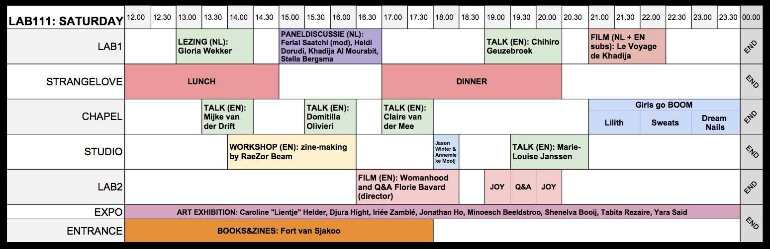Schedule FAF2018 Saturday