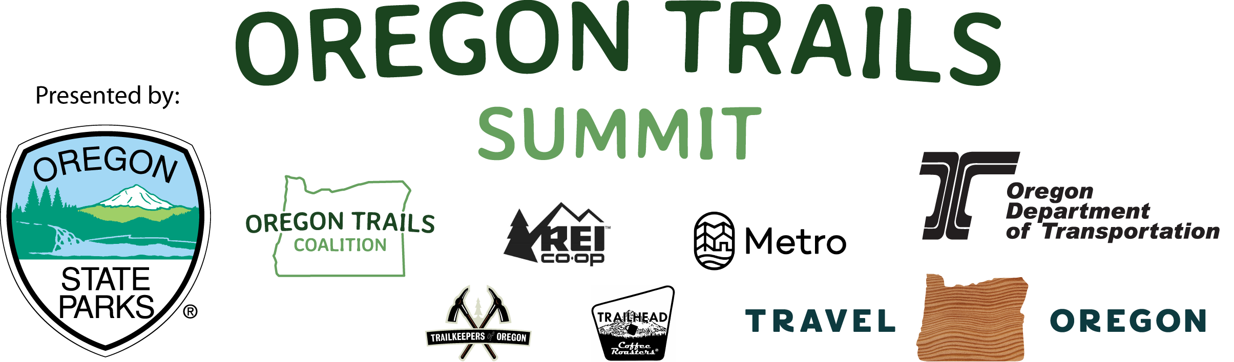 Logo banner featuring OPRD, ODOT, Travel Oregon, REI, Metro, Trailhead Coffee, Oregon Trails Coalition, and Trailkeepers of Oregon