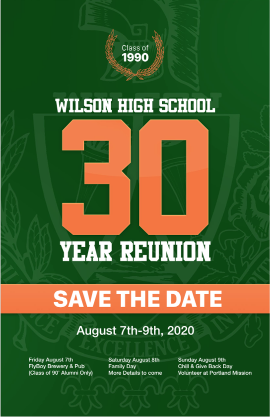 WWHS 30 year Reunion Block Party Save the Date flyer