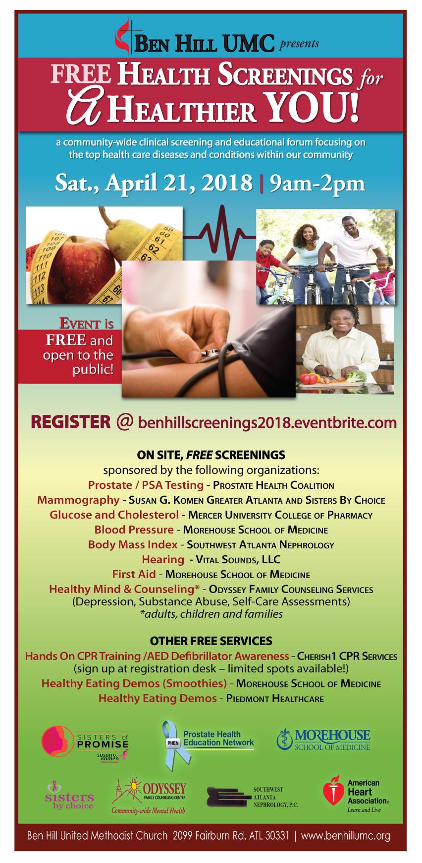 ben hill health screeings flyer