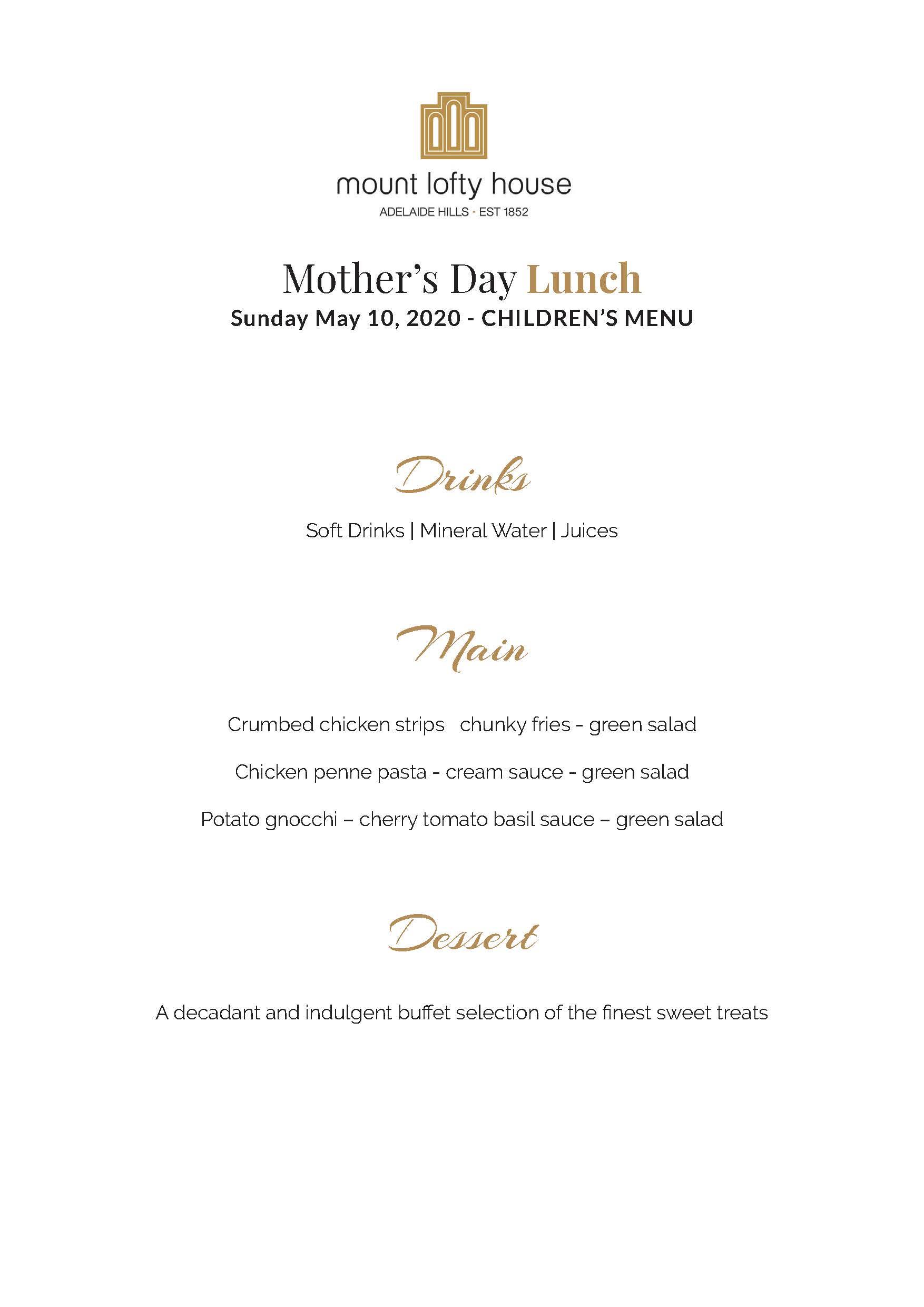 Mount Lofty House Mother's Day Children's Menu 2020