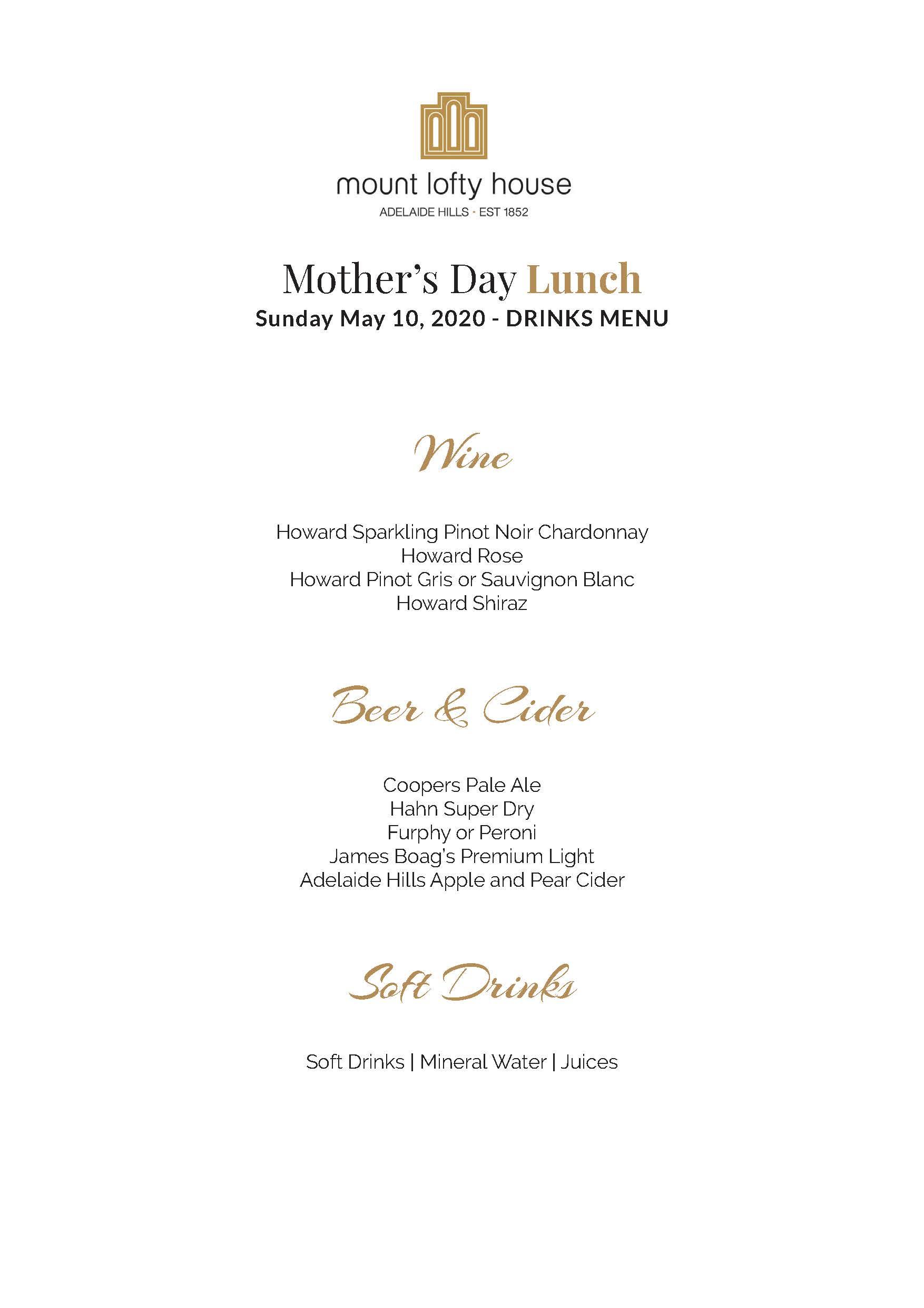 Mount Lofty House Mother's Day Premium Drinks Menu 2020