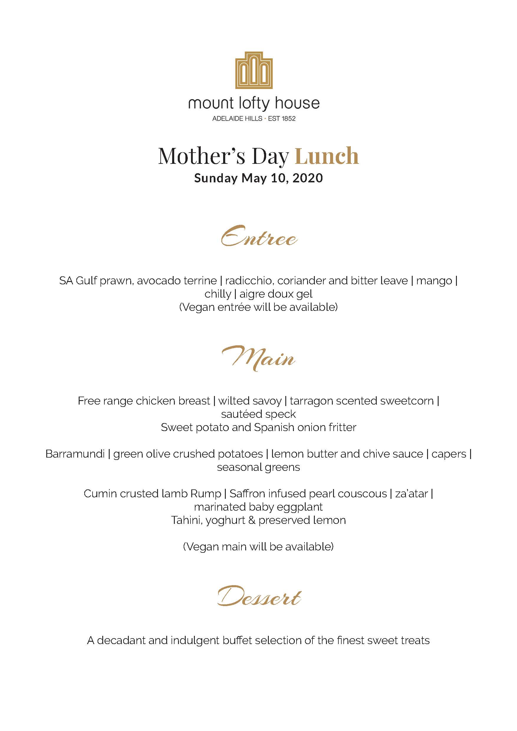 Mount Lofty House Mother's Day Lunch Menu 2020
