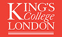 red kings college london logo with white letters