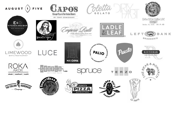 August 1 Five, Capo's Coletta Gelato, Dirty Habit, Dragon Beaux, E & O, Emmy's Spaghetti Shack, Emporio Rulli, Ladle & Leaf, Left Bank, Limewood, Luce, M.Y. China, Palio, Puesto, Ristobar, Roka Akor, Souvla, Spruce, Teazo, The Bear & Monarch, The Italian Homemade, Thirsty Bear, Tony's Pizza, Trader Vic's, Vive La Tarte