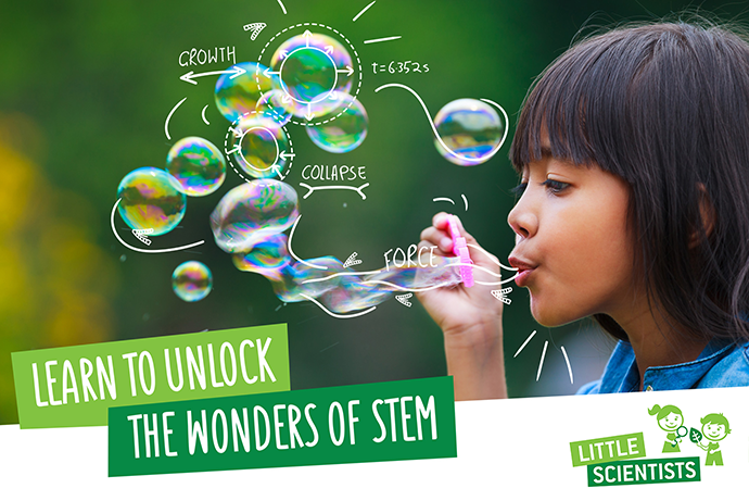 Learn to unlock the wonders of STEM-girl blowing bubbles