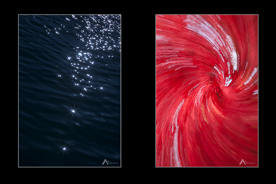Two photographs, one of starbursts on water highlights using aperture and one with intentional camera movement and motion blur, photographed by Aura McKay