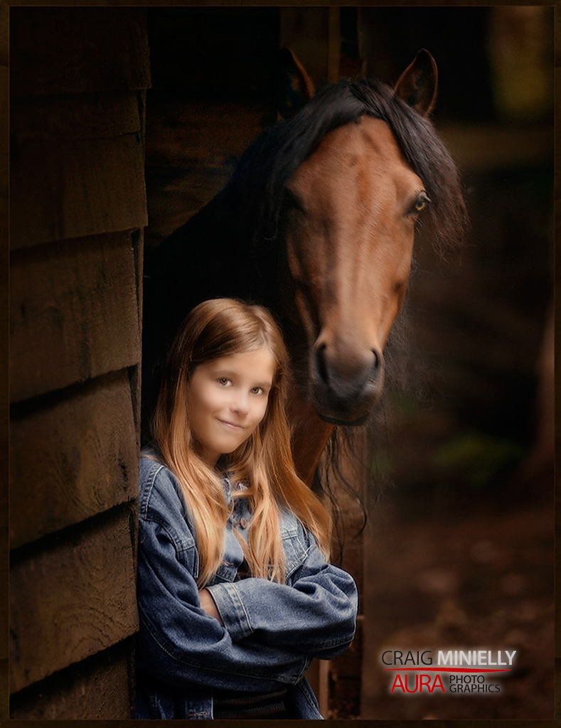 Young girl with horse lit by External Flash by Craig Minielly, Aura Photographic