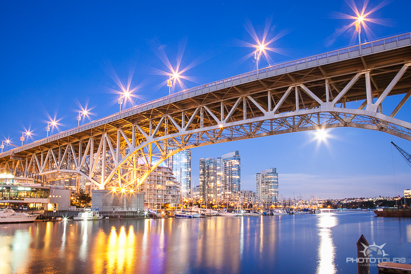 Granville Bridge from Granville Island at night by Aura McKay for Photo Tours Vancouver