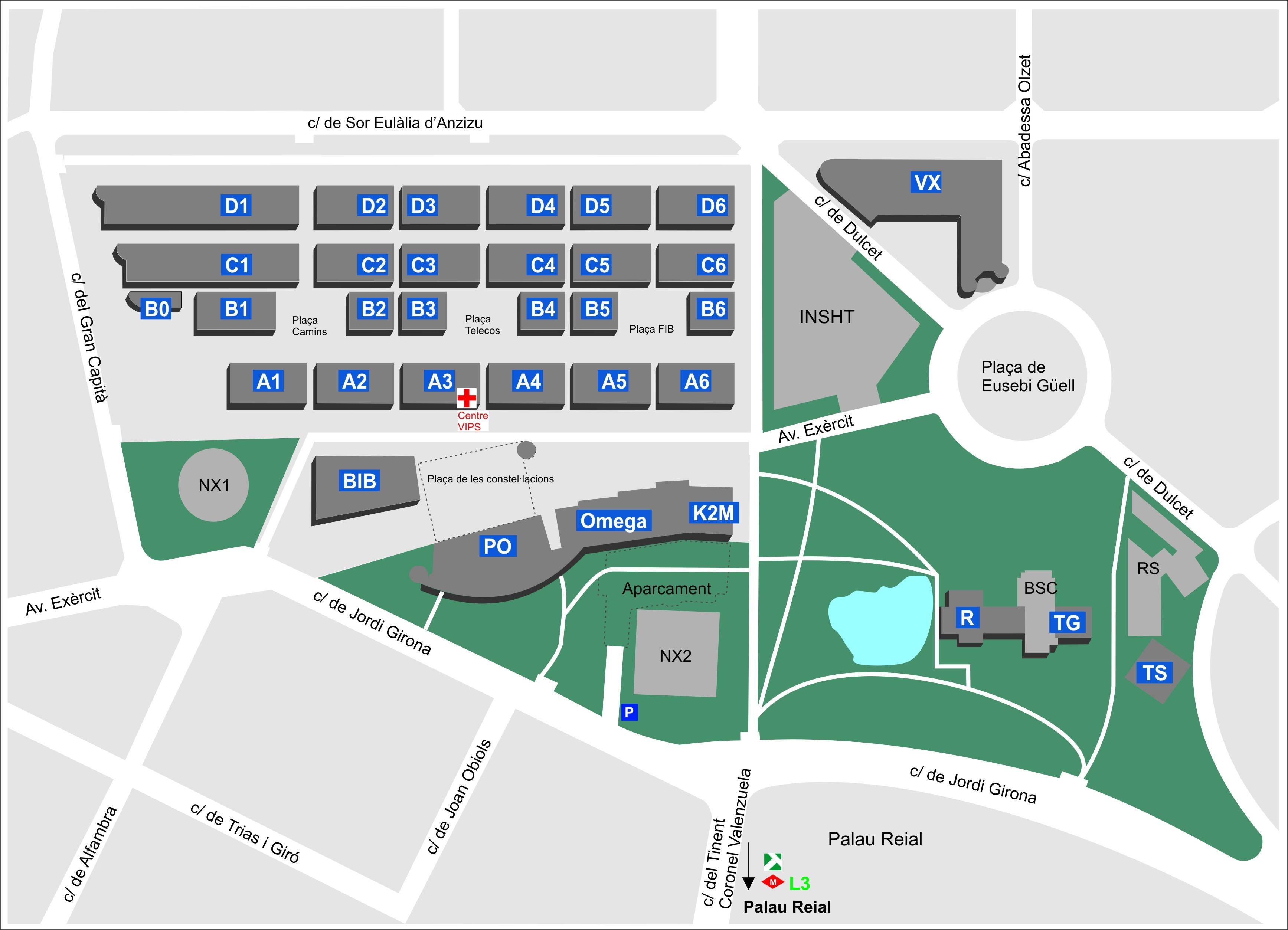 Mapa Campus Nord Universitat de Barcelona
