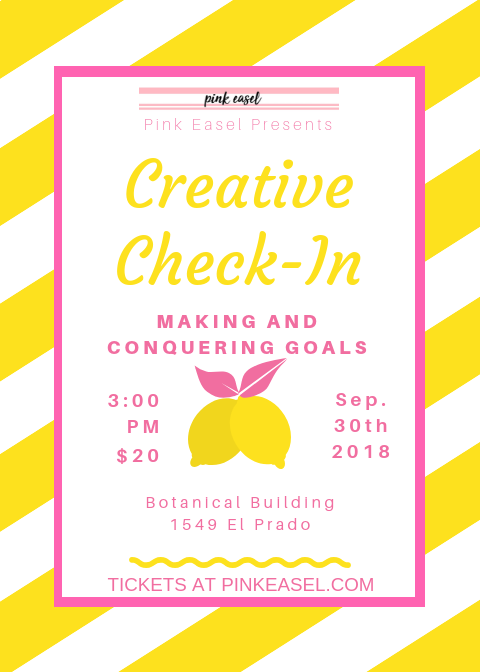 pink easel creative check in making and conquering goals tickets