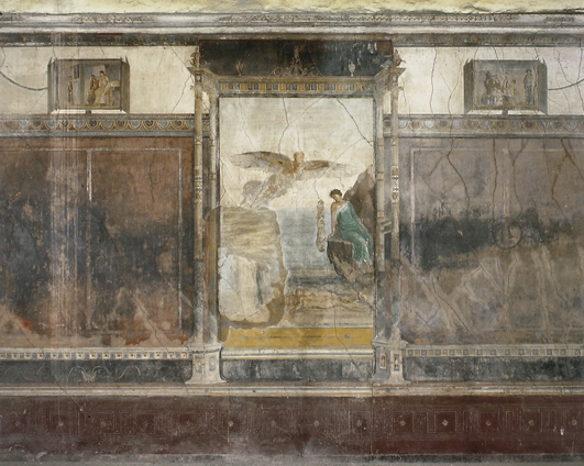Central part of the S wall of the large Oecus A in the Villa Imperiale, Pompei