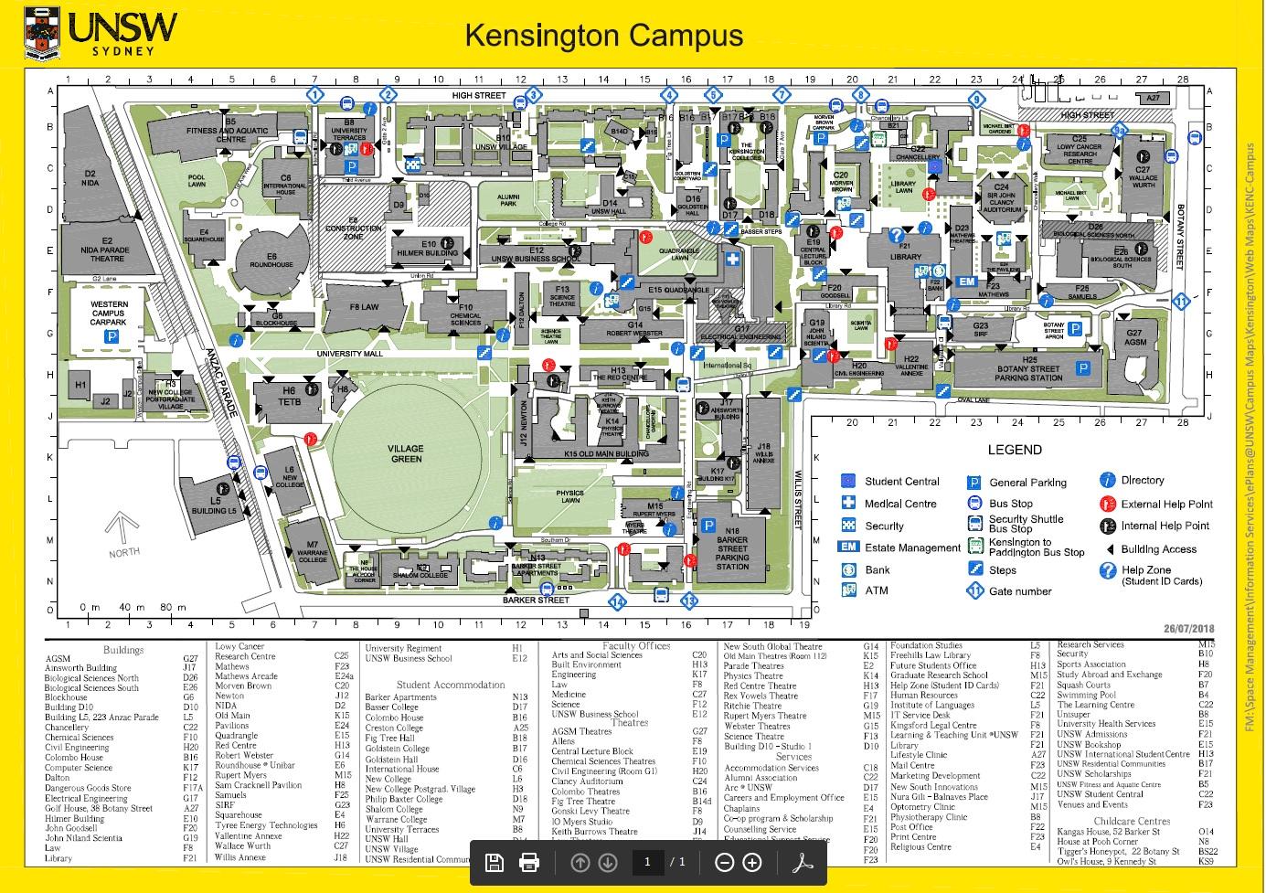 UNSW Kensington Campus Map