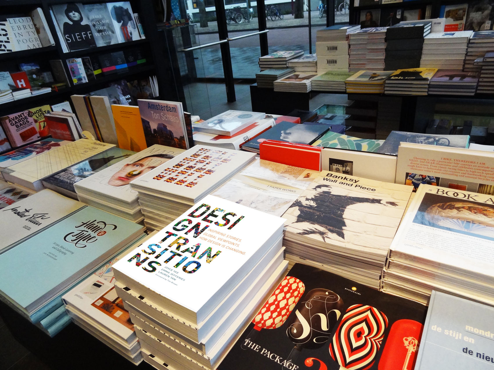 Image of the Design Transitions book in a book shop