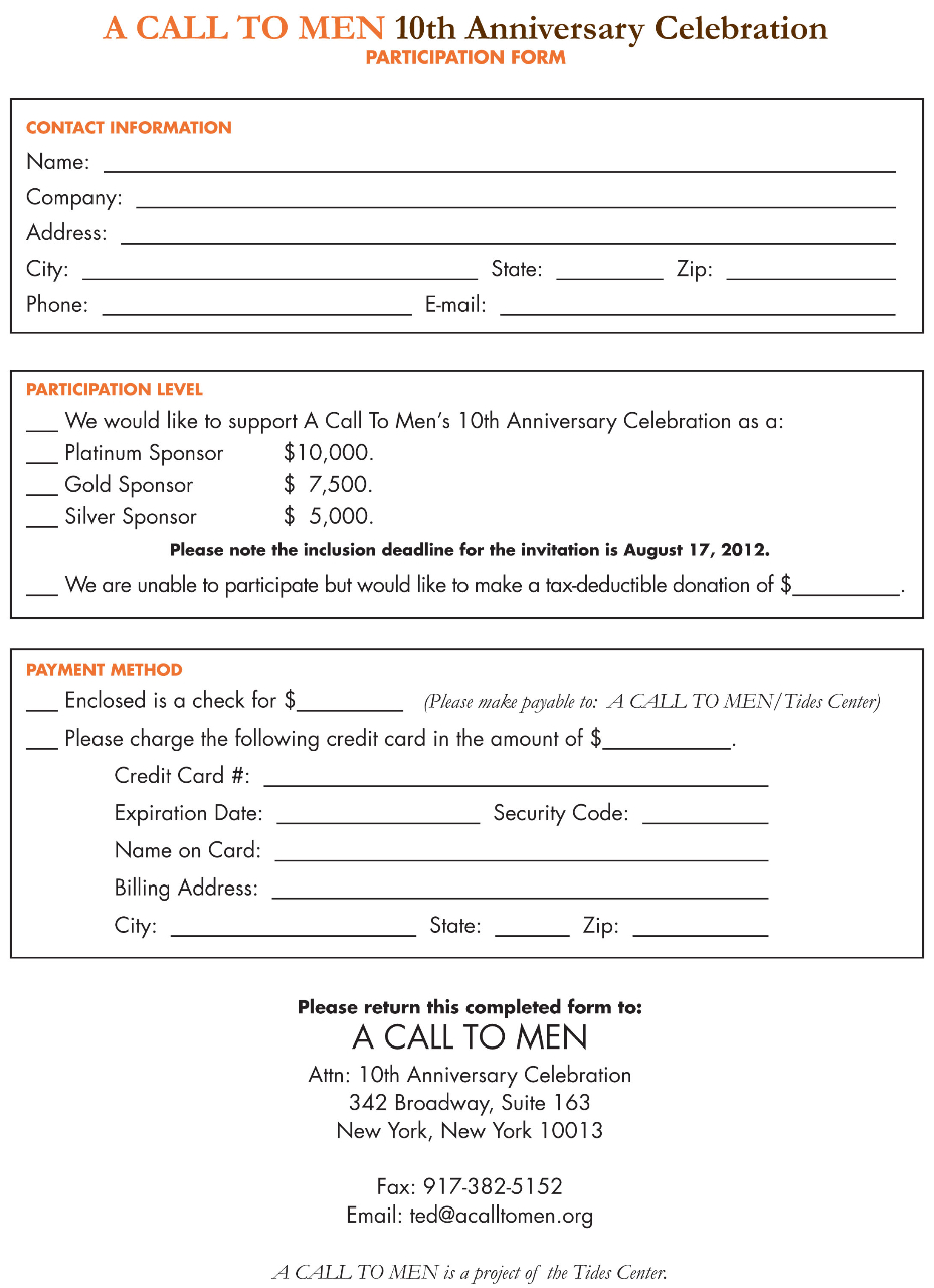 A CALL TO MEN Participation Form