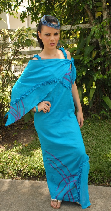Turquoise handpainted dress
