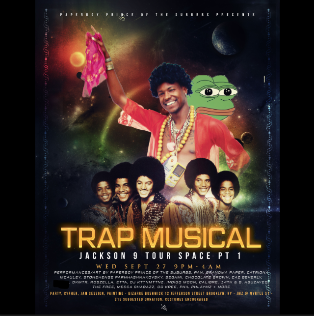 Jackson 9 Tour Space Trap Musical play and party presented by Paperboy Prince of the Suburbs