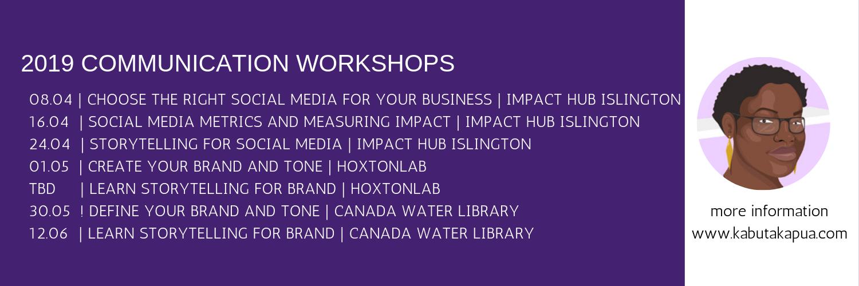2019 Workshop calendar