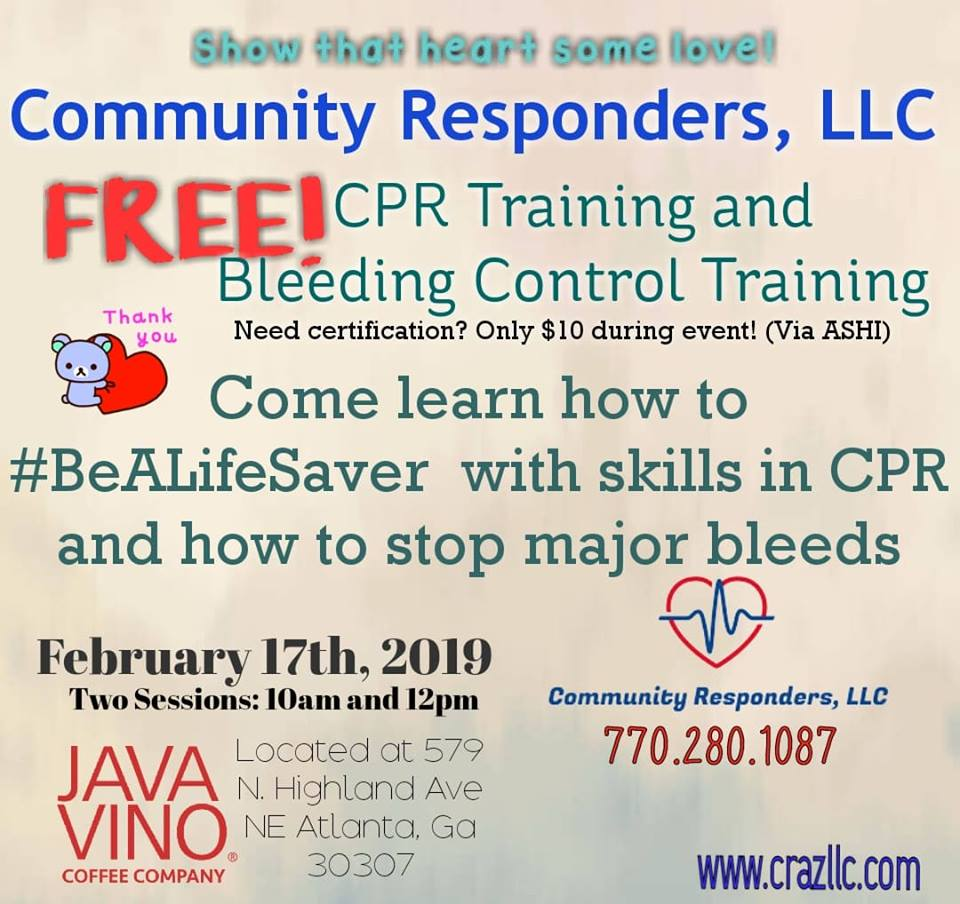 Free Cpr And Bleeding Control Training Tickets Sun Feb 17 2019 At