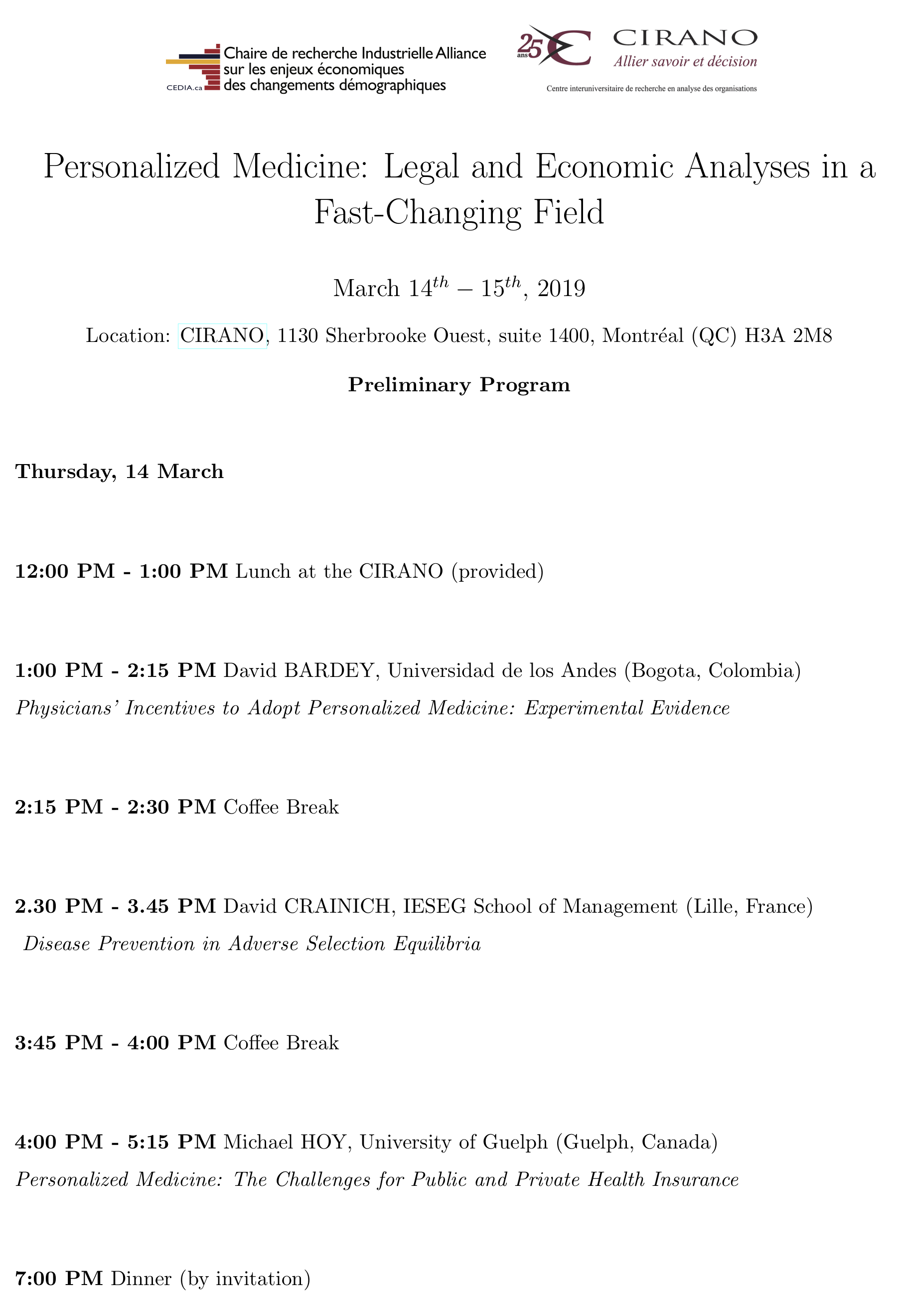 Programme : Personalized Medicine Page 1