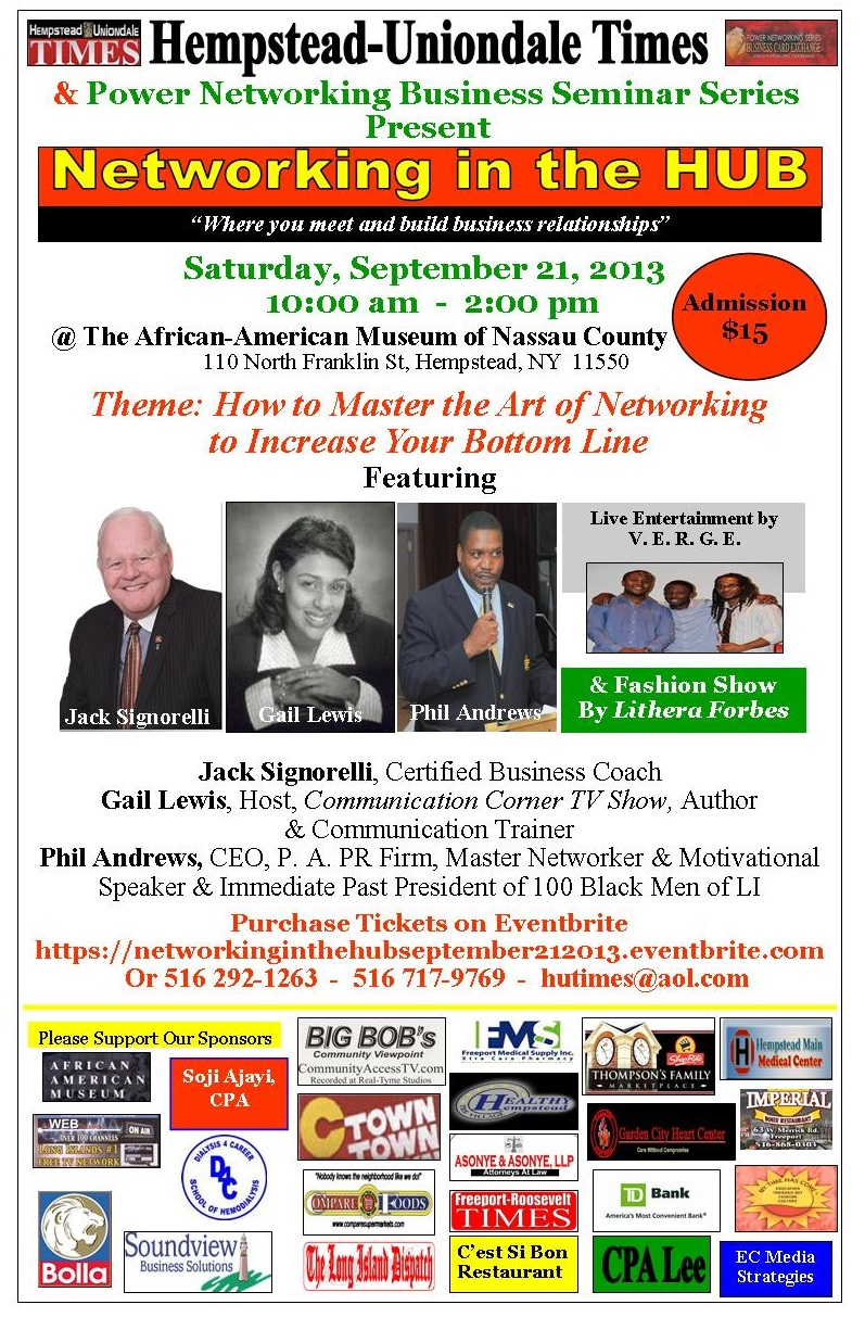 Networking in the H.U.B.- Saturday, September 21 @ 10 AM