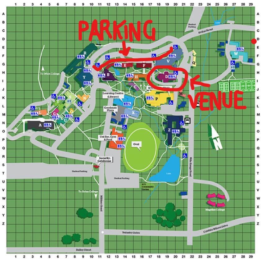 SCU Map for Studio Access and Parking