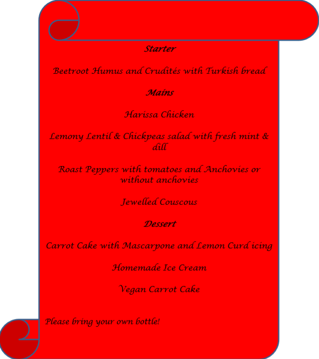 Menu for the event