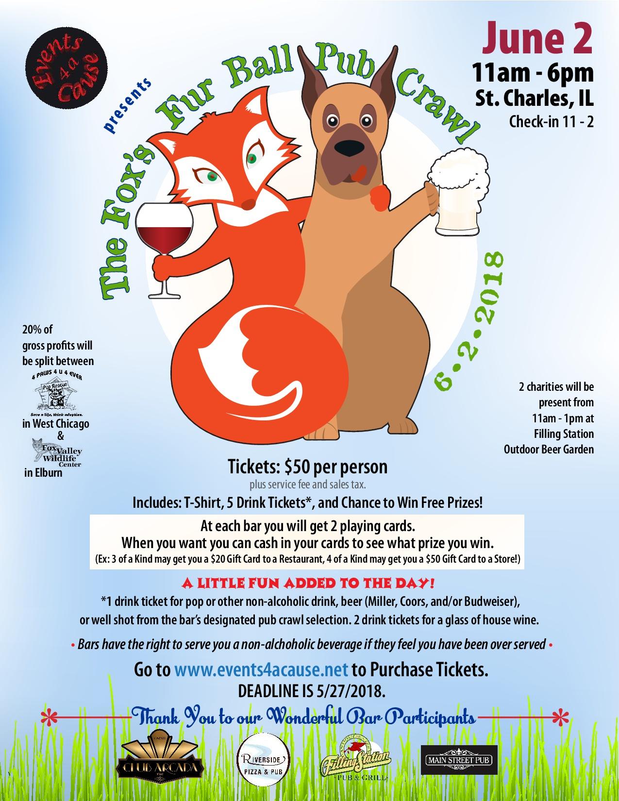 Fox's Fur Ball Pub Crawl Event Poster