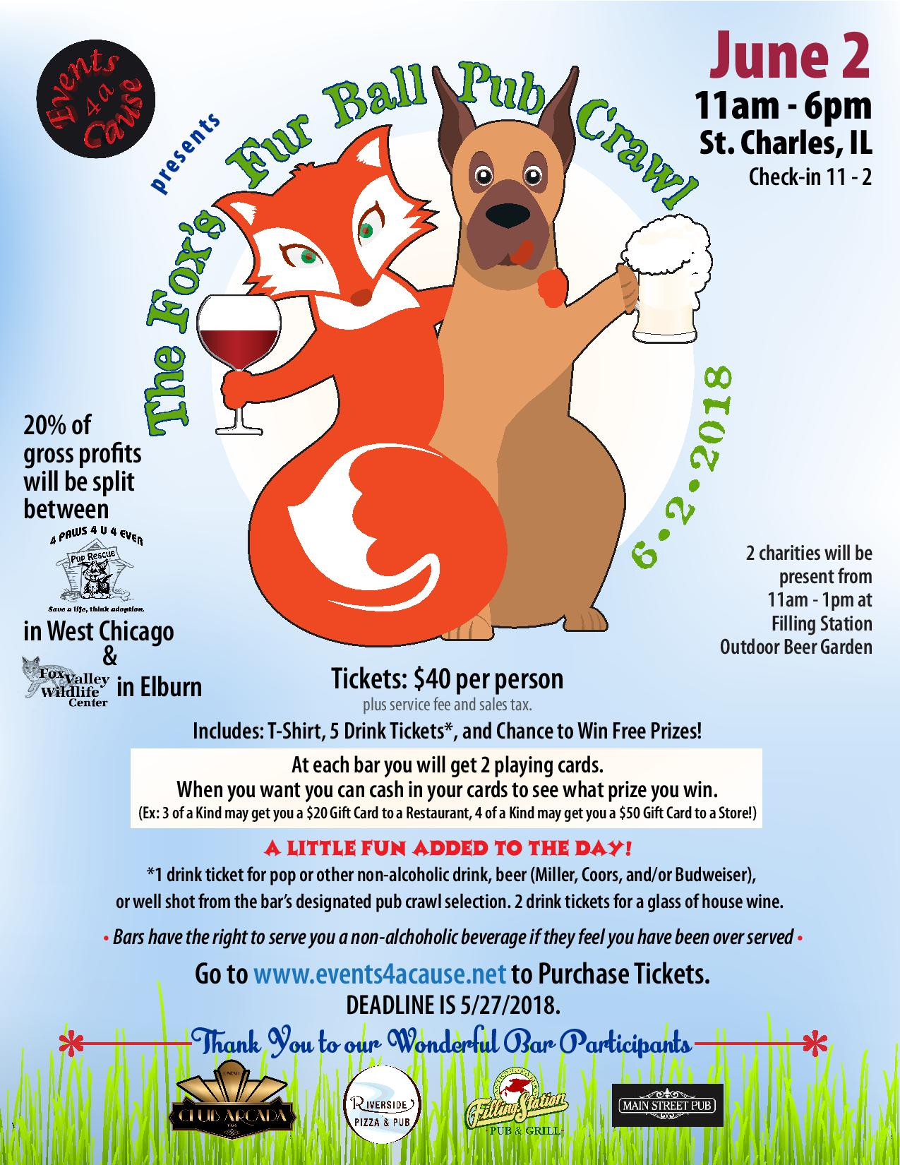 Fox's Fur Ball Pub Crawl Event Poster