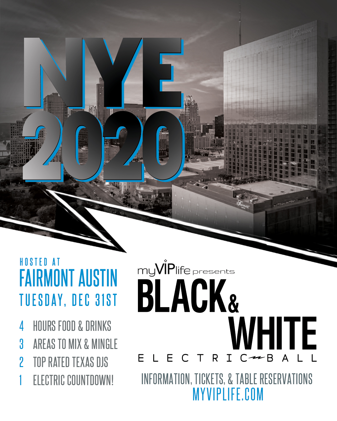 Austin Events Calendar 2020 Black & White NYE Electric Ball | New Year's Eve 2020 (Austin, TX