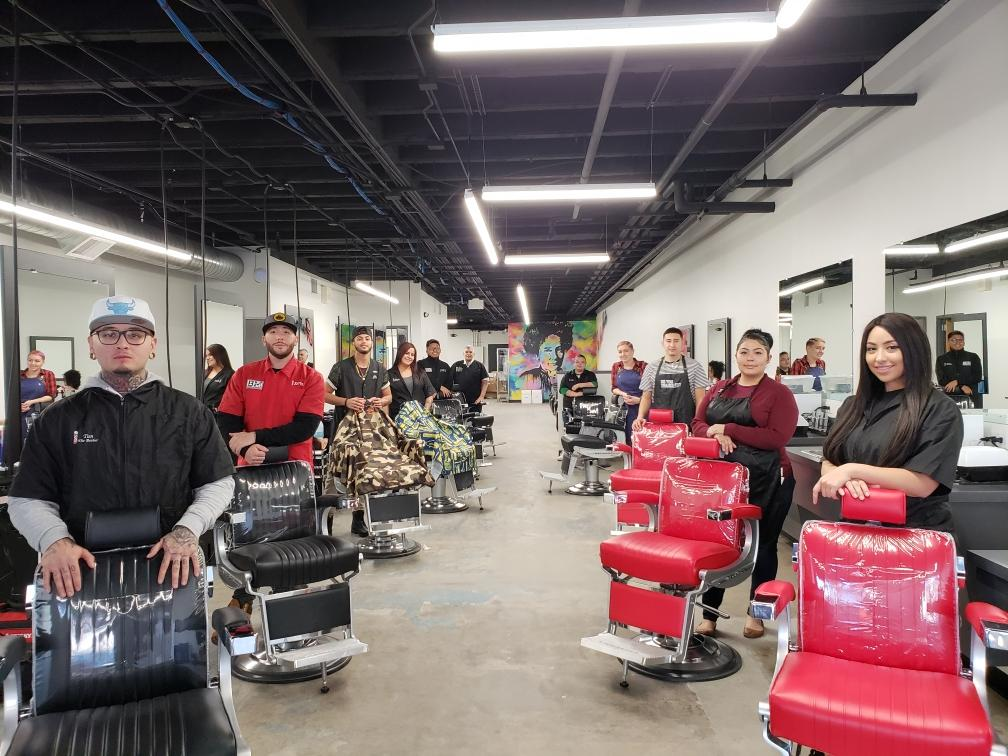 Students are ready for business at Emily's Salon & Barbershop.