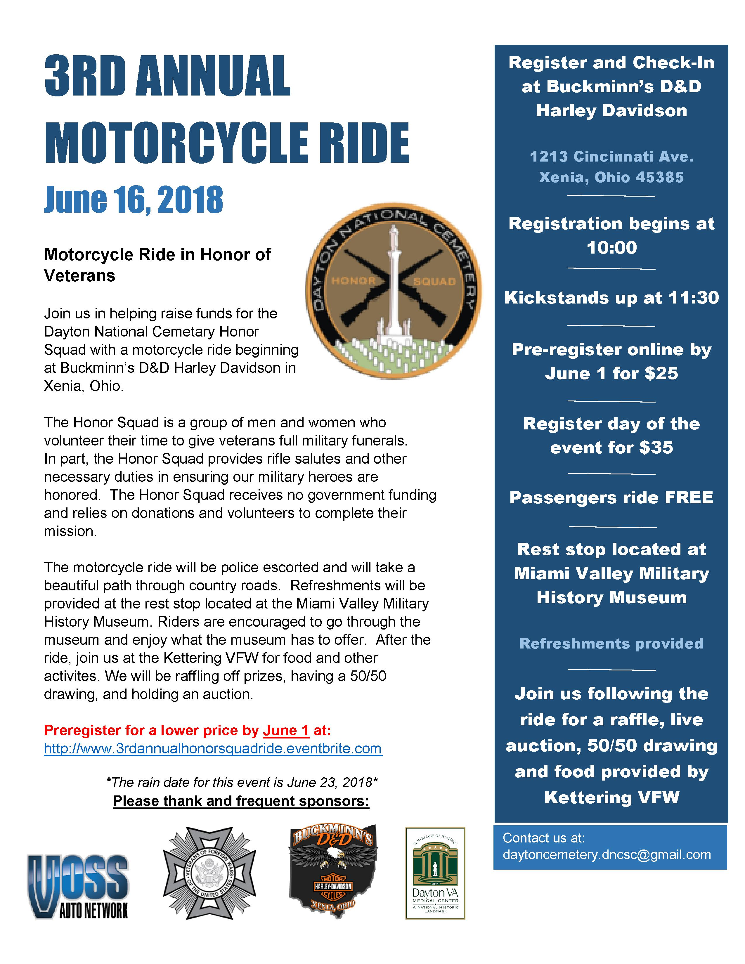 Third Annual Motorcycle Ride Flyer