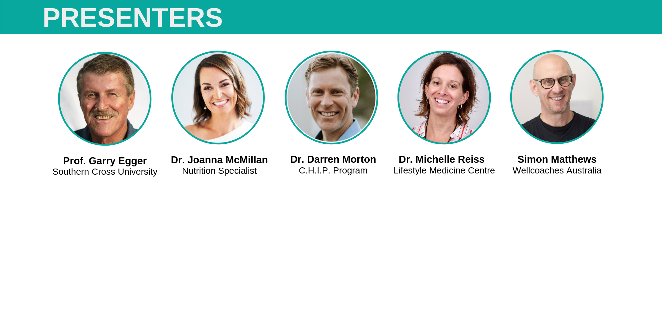 Speaker Lineup of 2nd Annual Lifestyle Medicine Masterclass