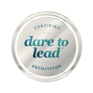 Small silver circle that says Certified Dare to Lead Facilitator