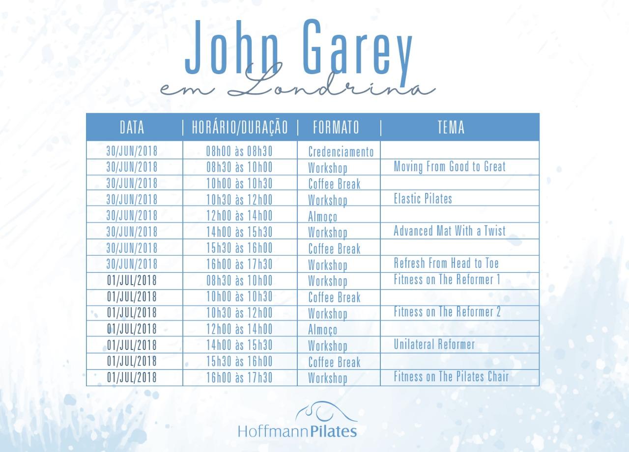 Cronograma John Garey em Londrina