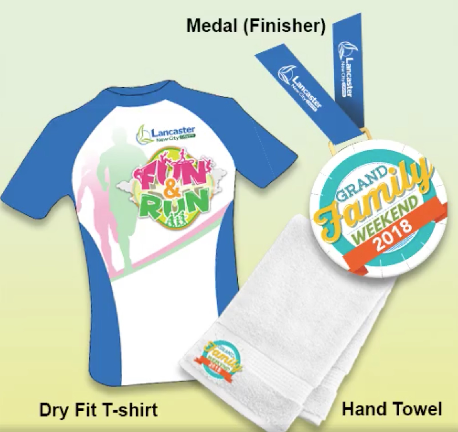 dri-fit race shirt, finisher medal and hand towel